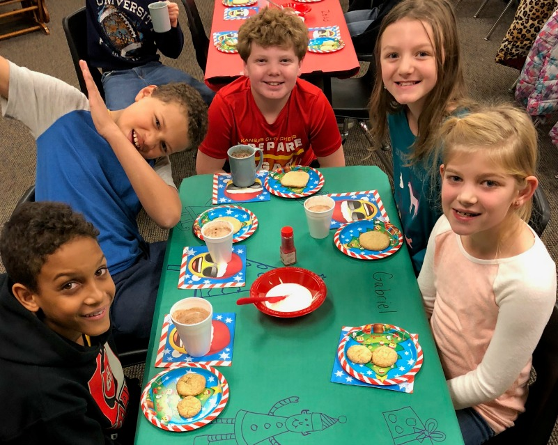 Students are pictured during a holiday party to celebrate the friendships.