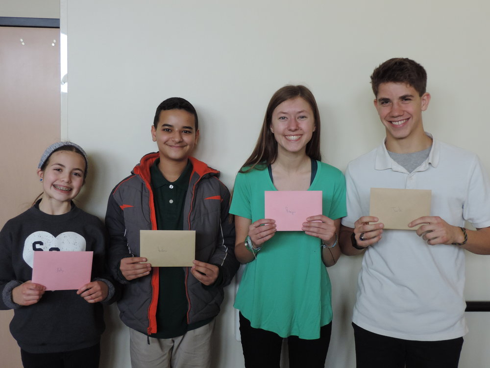 (left to right) SCA seventh grade students Kaitlyn Miller and Andrew Mishriky, with senior Reagan Lyle and junior Josh McConnell, were recently named SCA Secondary Christian Character Awardees.