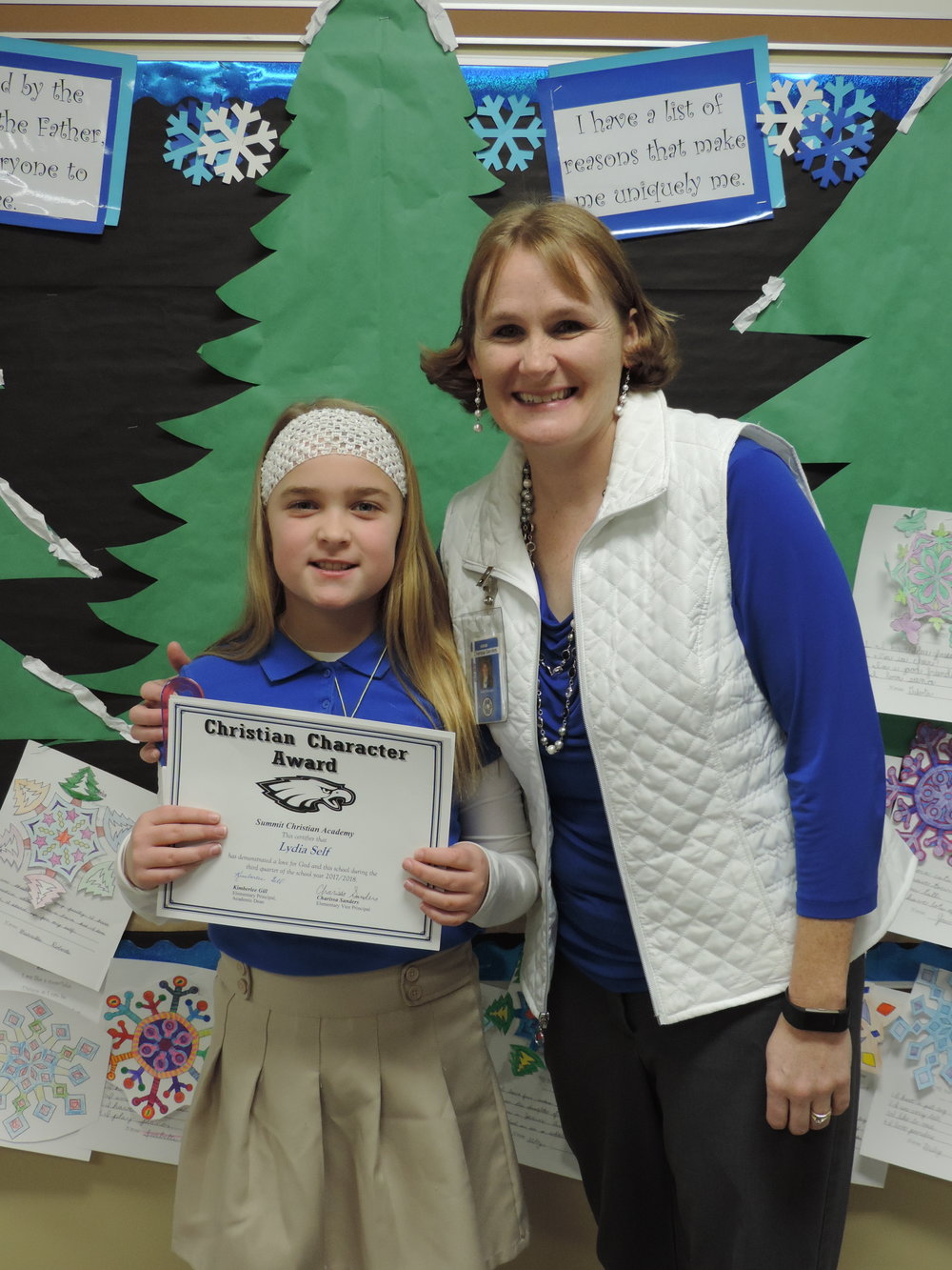 SCA third grade student Lydia Self, pictured with SCA Elementary Vice-Principal Charissa Sanders, received an elementary Christian Character Award for second quarter.