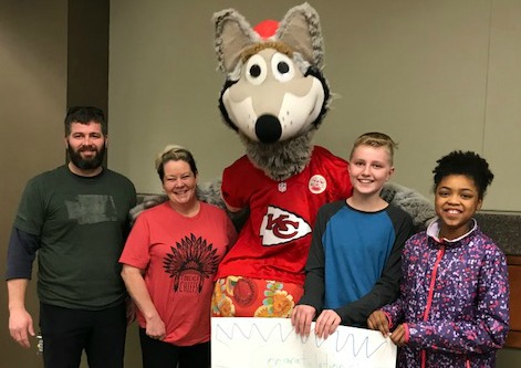 Hawthorn Hill Elementary staff and students pictured with KC Wolf are (from left) Scott Smith, physical-education teacher; Jennifer Eastep, cafeteria manager; and Henry Lee and Kamryn Sariah, both sixth-graders.