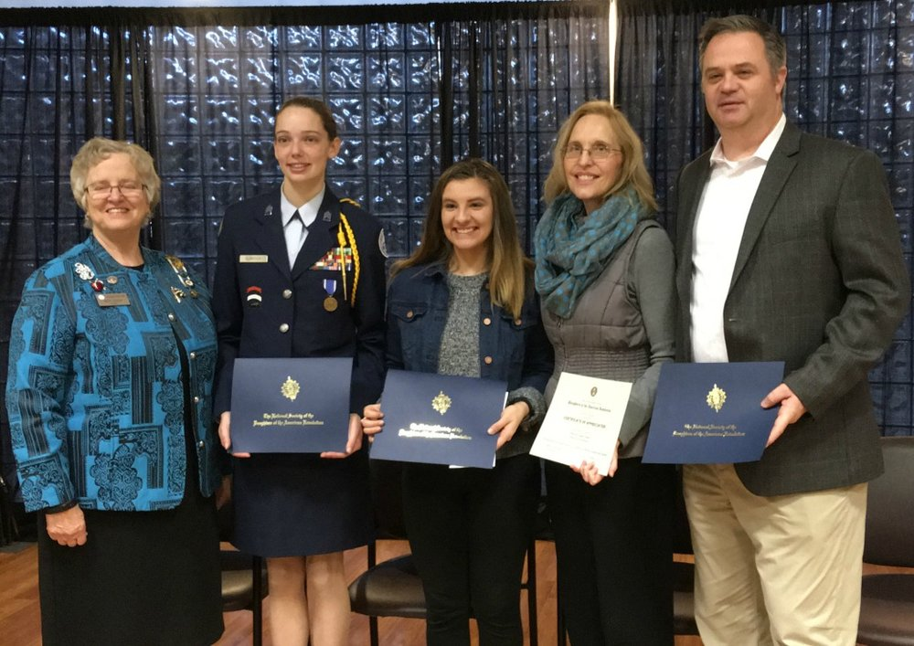 Pictured at the ceremony are (from left) Prairie Chapter Regent Betty Taylor, Catherine Elizabeth Klingsick, Reagan Klehr, Kay Rader and Tavish Whiting.