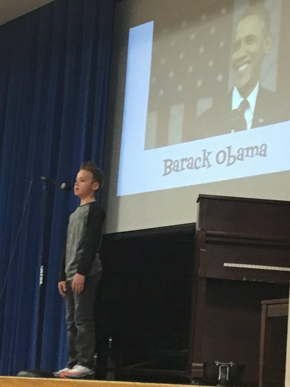 Caden Rains recognizes Barack Obama.