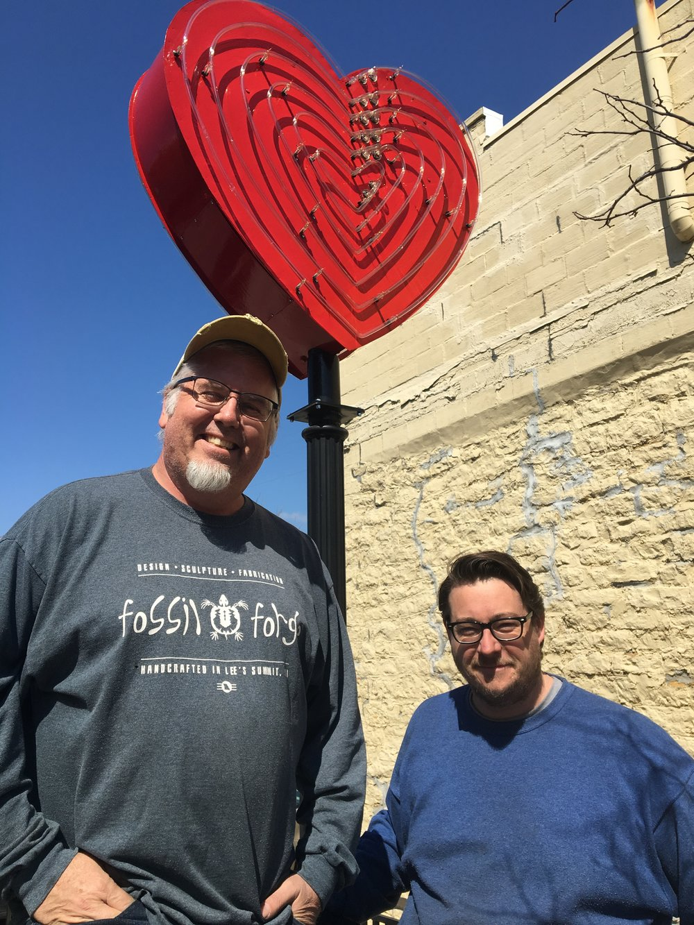 Dave Eames and Ben Wine, of Fossil Forge Design, worked to restore the Hartley Heart — an icon of the downtown Lee's Summit district.