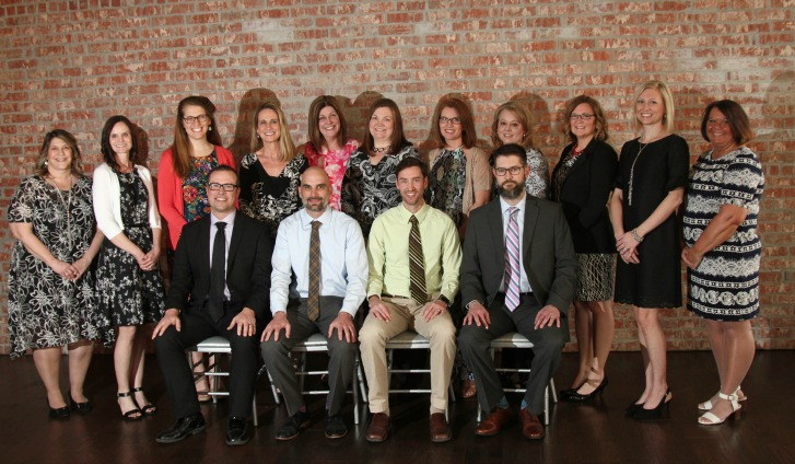 Excellence In Teaching Award winners and Teachers of Distinction are (front row, from left) Clif Thurmond, Matt Buxton, Dr. Kevin McCormick and Shawn Harrel, (second row, from left) Janelle Pugh, Nicole Gilbert, Lauren Hollingsworth, Anne Braun, Kelly Bailey Eames, Kelli Wilson, Christie Brown, Sherri Norton, Jamie Harrel, Kristen Shackelford and Tammi Krones.