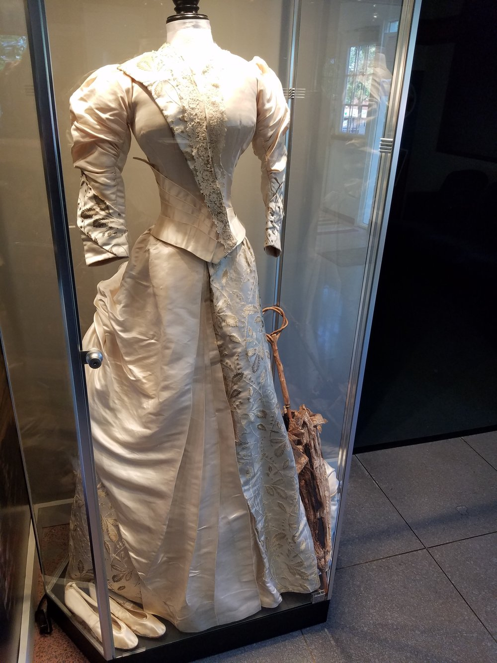 Maria Howard Ranson's wedding dress and her trousseau are a featured exhibit in the Howard display in the museum. A description of the wedding dress on a hand note written by May Howard, wife of William B. Howard's grandson, describes the dress and the wedding.