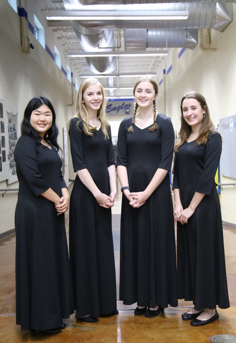SCA Senior Joy Chen, Senior Chloe Nielsen, Sophomore Mackenzie Madsen, and Sophomore Alysa Ward were selected for the Kansas City Metro SSAA Honor Choir.
