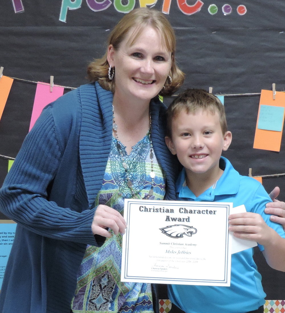 SCA first grade student Myles Jeffries, pictured with SCA Elementary Principal Charissa Sanders, received an elementary Christian Character Award for first quarter.