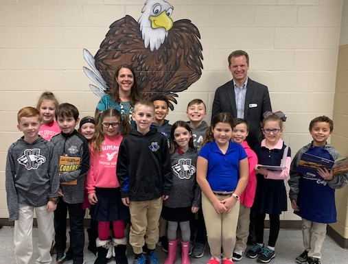 CA sixth grade teacher Mrs. Chandra Brownlee and second grade students with Dr. Kevin Washburn. Dr. Washburn recently visits SCA and is the creator of Foundations and Framework and the Executive Director of Clerestory Learning.