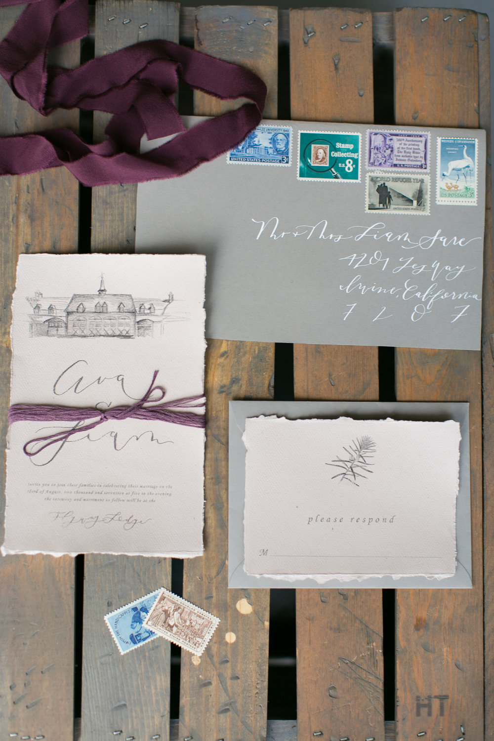 The Invitation Suite... - Jordan of She Design Co. designed these GORGEOUS invitations. I secretly was hoping she would want to do a hand-drawing of the venue for the invitation but wanted her to have creative license so we sent her the mood board and pictures of the venue and told her to be creative and do whatever she wanted for them.  We were thrilled when she told us she would be doing a hand-drawing of the beautiful Flyway Lodge on the invitation and even more thrilled when we receive the final product in the mail!   Could they be any prettier?  She also did all hand-lettered items that you see in this shoot. I'm so proud of how this former EBJ bride turned industry peer is killing it with her business!