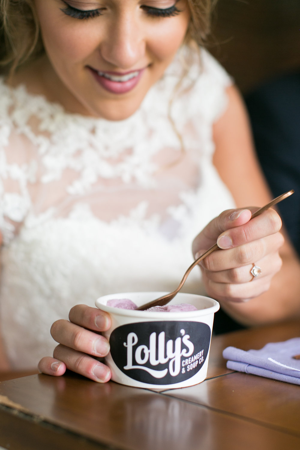 The Dessert... - Lolly's Creamery and Soup Co. ice cream of course!  And not just because I'm married to the man behind the brand!  I love a non-traditional dessert for a wedding day - especially when it's supporting a local small business!  We even stuck to our