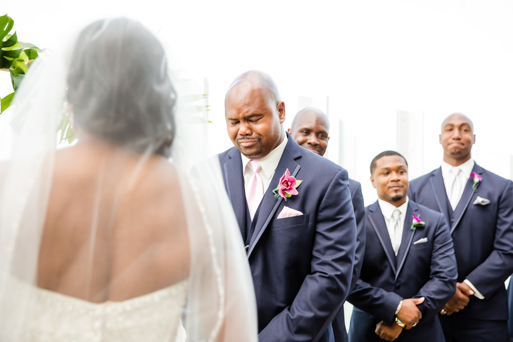Advantages… - The first time your fiancé sees you is when you're walking down the aisle. This is something that some grooms may feel strongly about, so make sure you have him weigh in on this decision!< Picture Credit: Daisy Torres