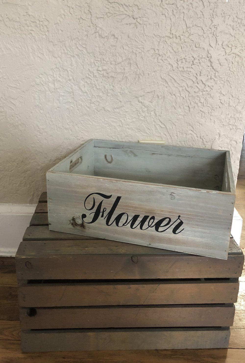 """Rustic """"Flower"""" Crate - (Quantity: 1)"""
