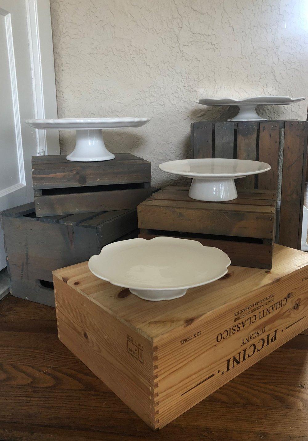 White Ceramic Cake Plates - (Quantity: 4)- 2 Small: 8 in. across- 1 Medium: 9.5 in. across- 1 Large: 11.5 in. across