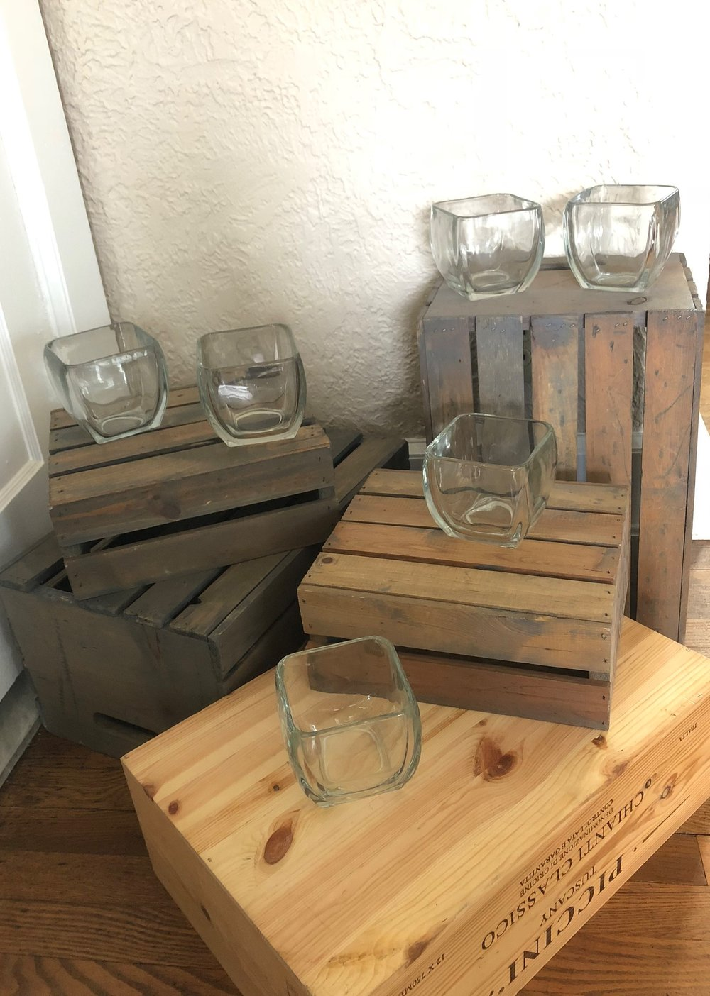 Short, square-top clear glass vases/candle holders - (Quantity: 15)