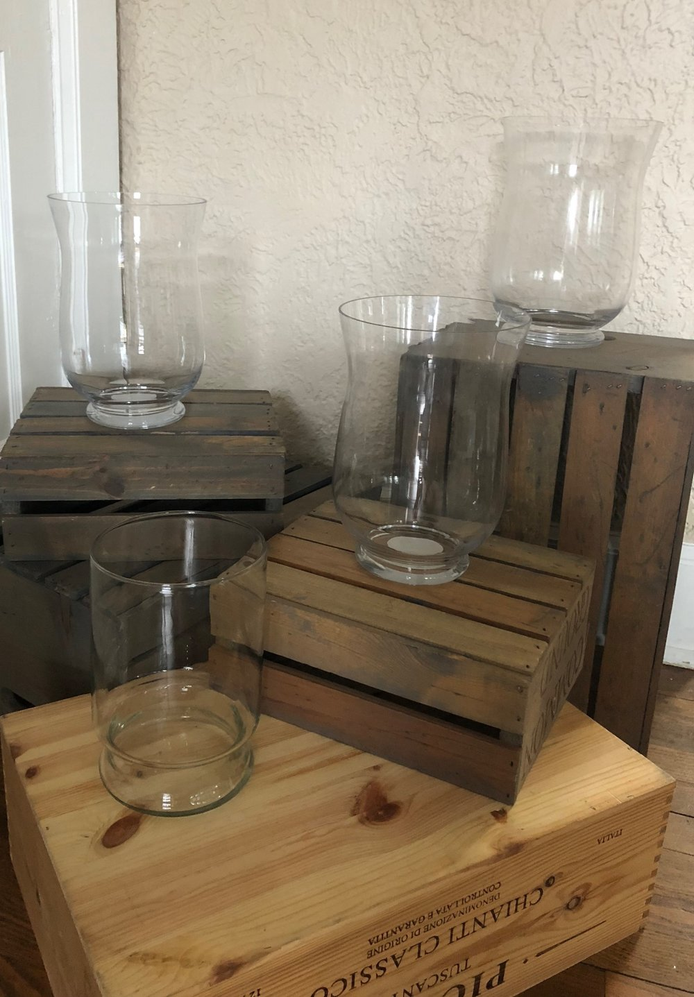 """Clear glass hurricane vase/candle holder - (Quantity: 5 total)- 4 """"bell-topped"""" (one has a small chip in it) - 1 """"straight-topped"""