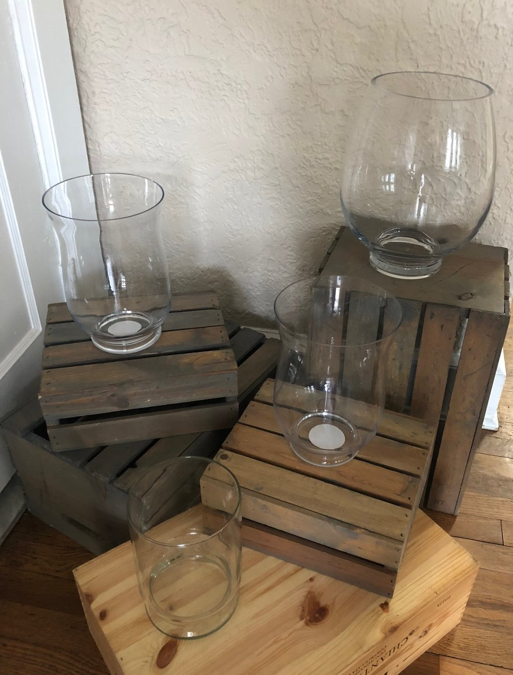 Large glass bowl/vase - (Upper right corner - has mostly been used for a card holder on the gift table)