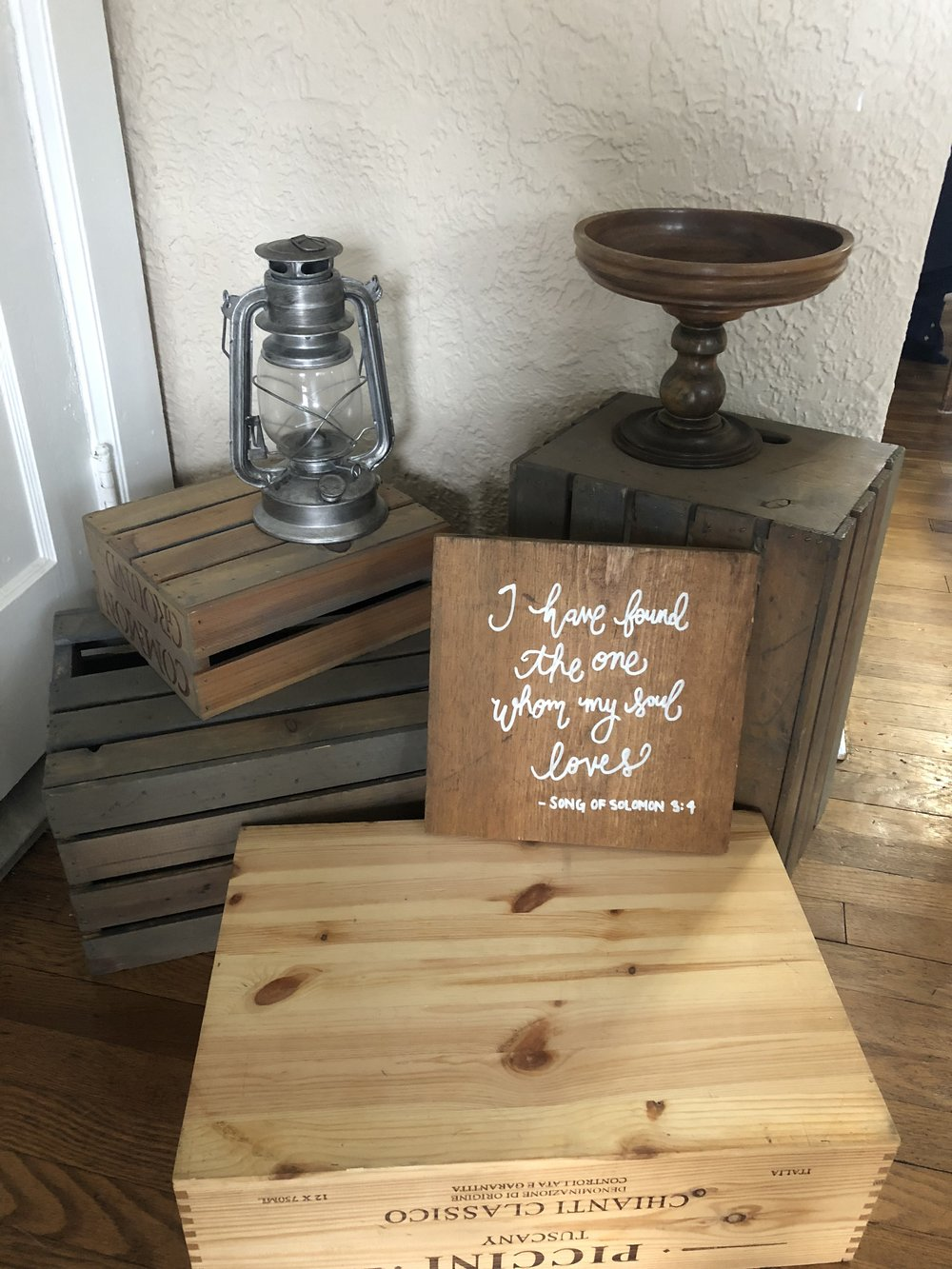 """Miscellaneous Items - - 1 Silver Lantern- 1 Wooden Wedding Verse Sign """"I have found the one whom my soul loves""""- 1 wooden pedastal plate"""