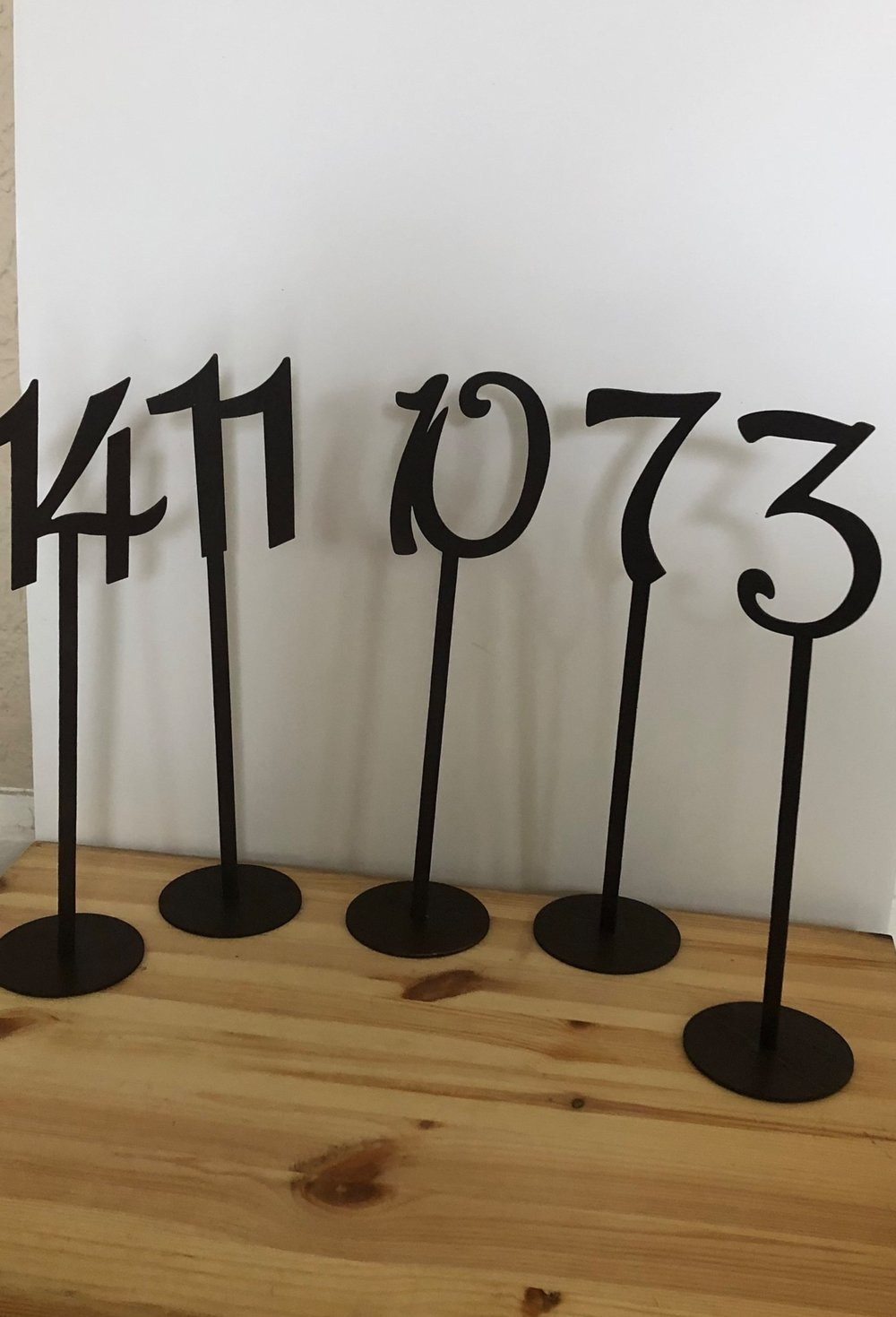 Brown table numbers with stand - (#'s 1-17)
