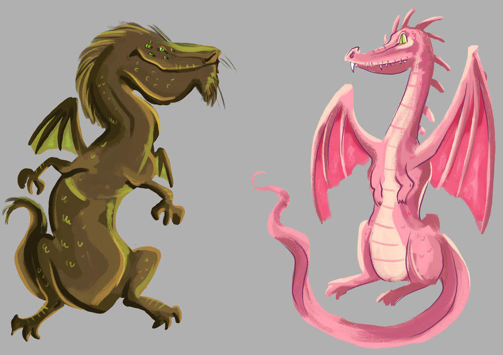 Brown and Pink Dragons