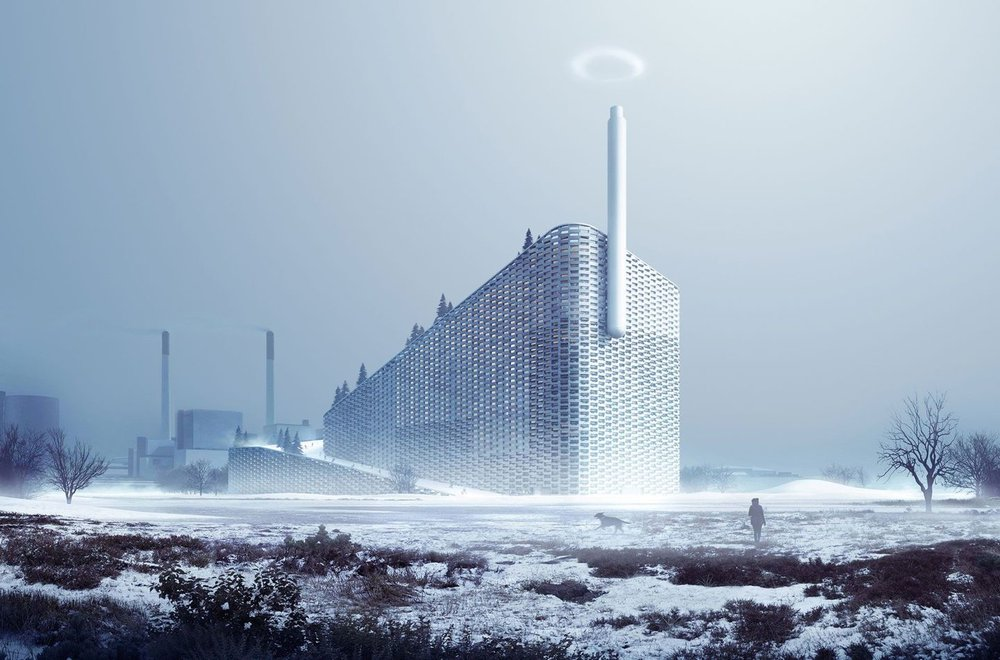 "Amager Resource Centre, Copenhagen. Due to open in 2017, this ""powderplant"" is the epitome of BIGamy: a waste-to-energy power plant. Clad in aluminium bricks and planters, it is designed to look like a green mountain with a snowy peak"