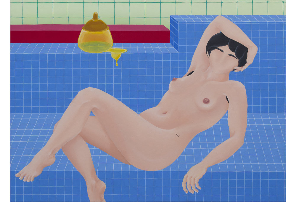 """Large reclining woman (2017)  28""""x36""""  Acrylic on canvas"""