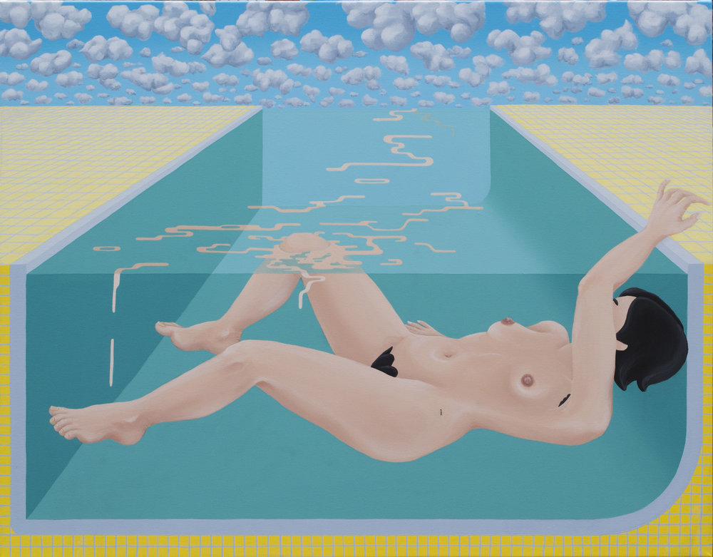 """Woman in pool with waves (2018)  28""""x40""""  Acrylic on canvas"""