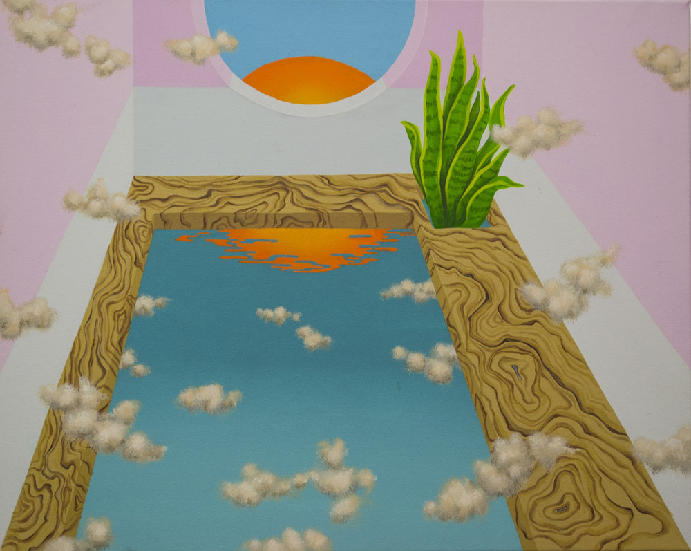 "Room with pool (2015)  16""x20""  Acrylic on canvas  Private collection"