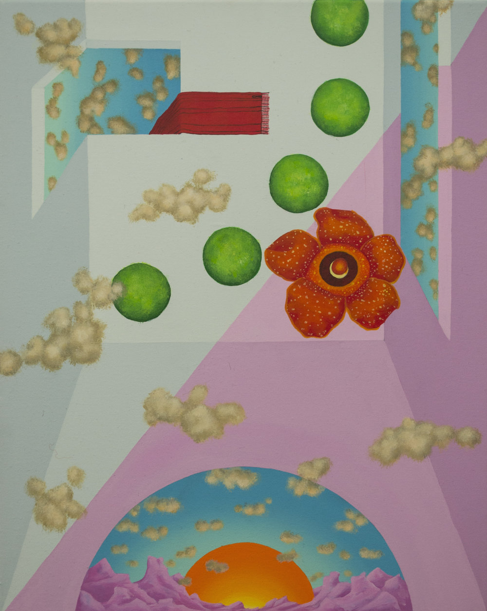 "Roof with Rafflesia Arnoldii (aka stinking corps lily) (2017)  20""x16""  Acrylic on canvas  Private collection"