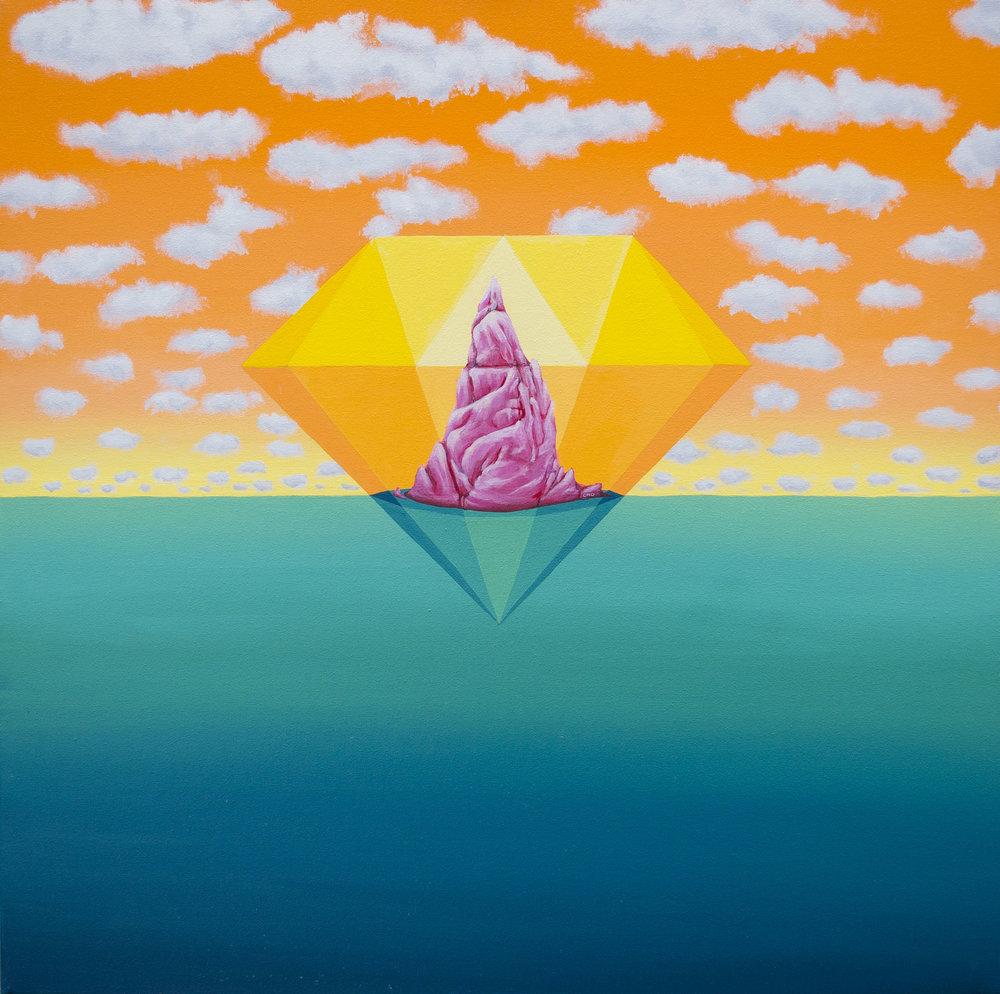 "Diamond horizon orange (2015)  24""x24""  Acrylic on canvas  Private collection"