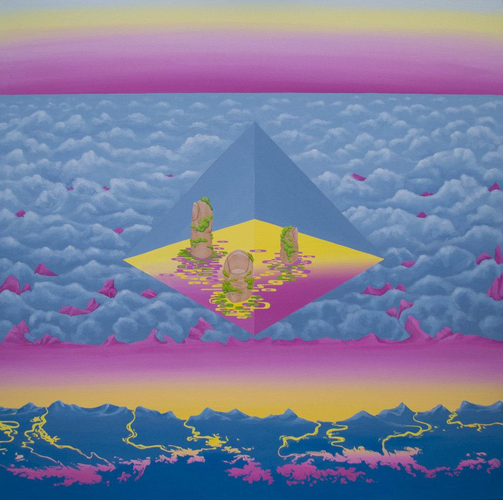 """Pyramid fingers (2016)  44""""x44""""  Acrylic on canvas  $700"""