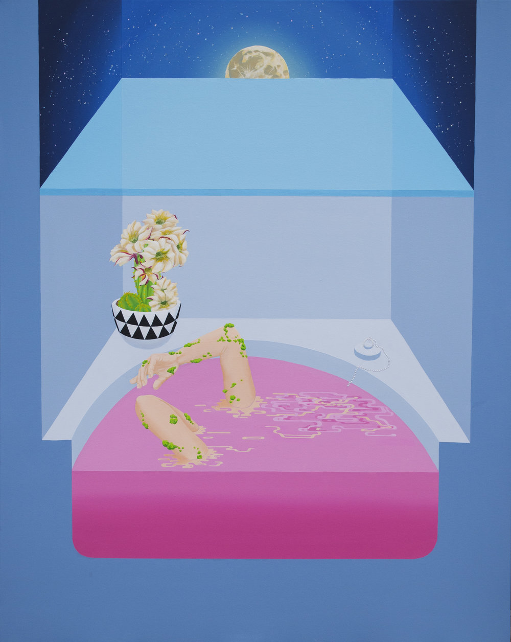 """Moonrise bath (2016)  50""""x40""""  Acrylic on canvas  $1000"""