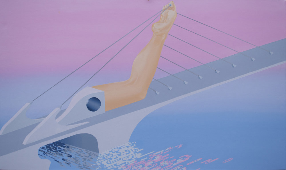 "Leg/Bridge (다리) (2016)  30""x40""  Acrylic on canvas  Private collection"