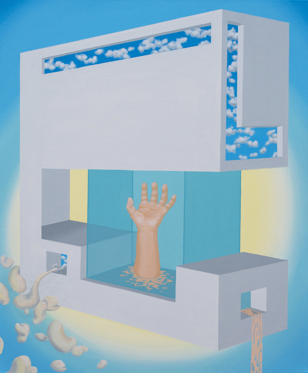 "Hand place (2016)  40""x30""  Acrylic on canvas  $500"