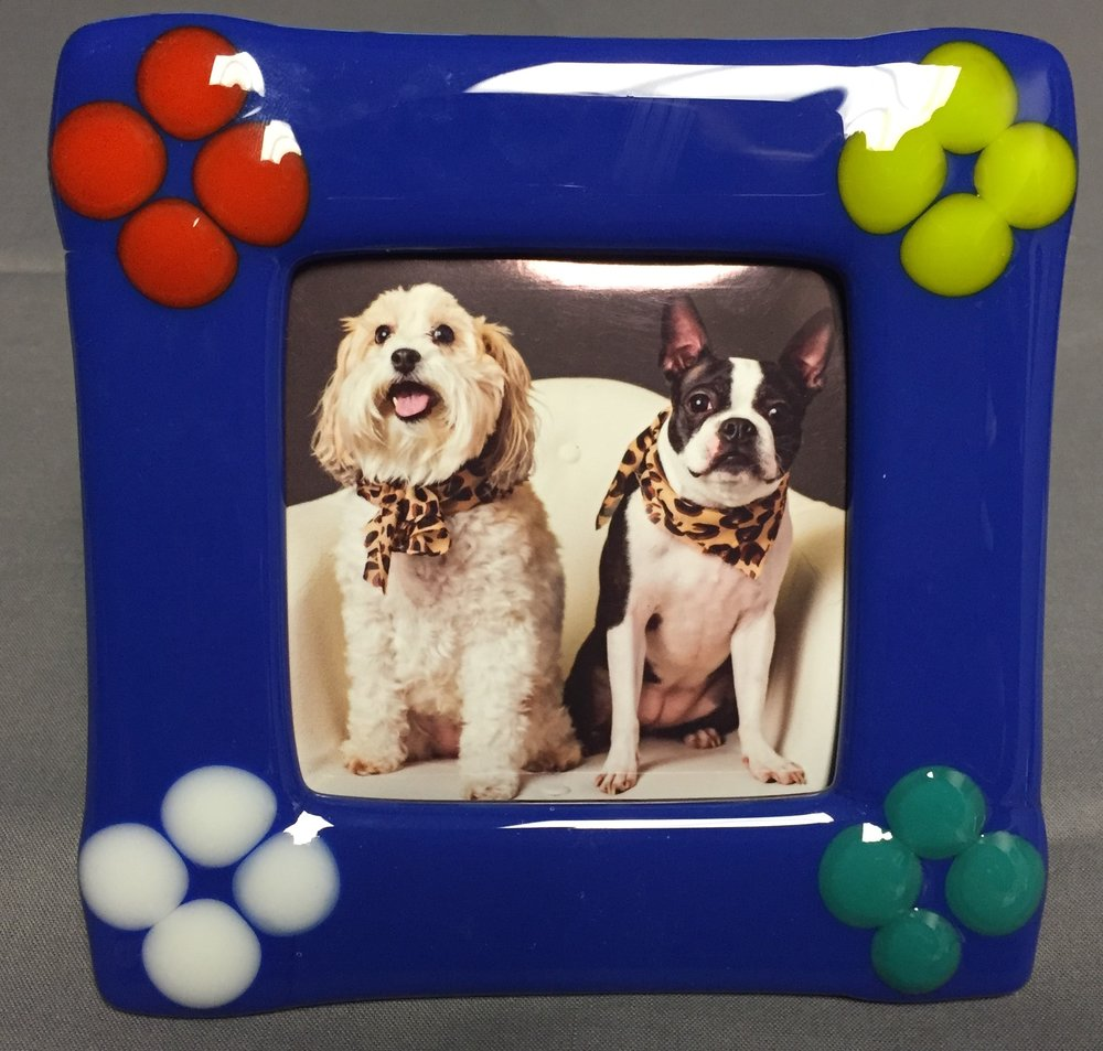 Glass fused picture frame