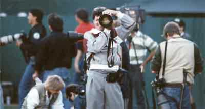 Digital Dave in action, 1989 World Series