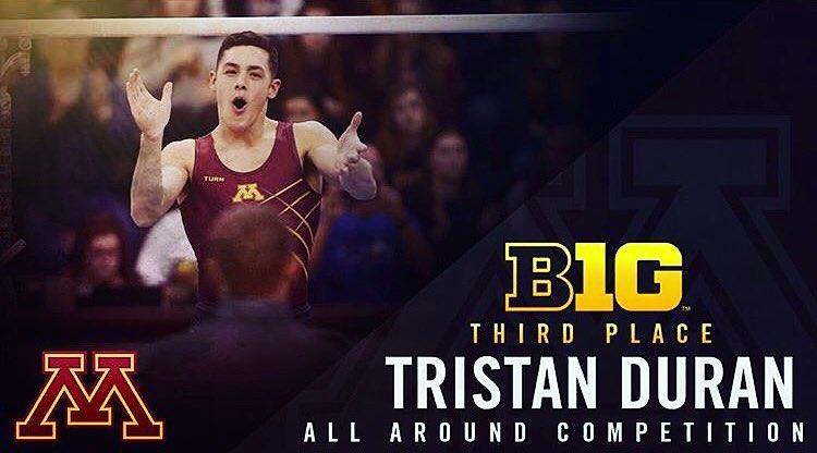 Tristan Duran (2012) placed  3rd ALL-AROUND  at the  2016 Big Ten Championships !