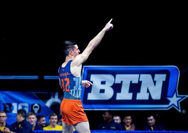Sebastian Quiana  (2016) placed 5th on FX at the 2017  Big Ten  Championships for the University of Illinois!