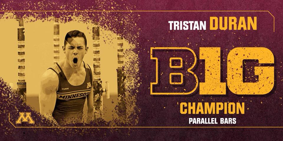 Tristan Duran  placed  1st  on parallel bars & 5th AA at the 2018 Big Ten Championship!
