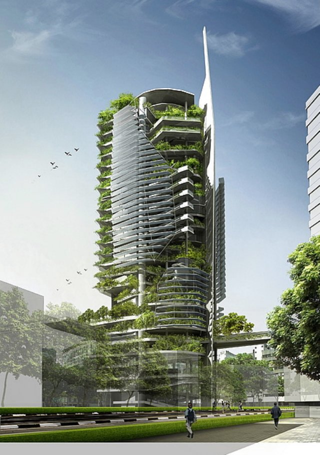 An artistic rendering of the vertical farm concept.