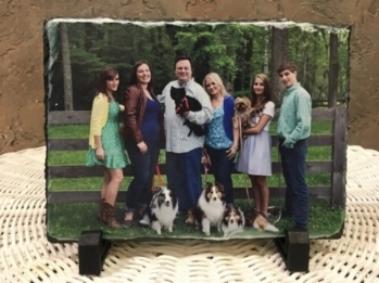 Family/ pet Portrait on slate stone
