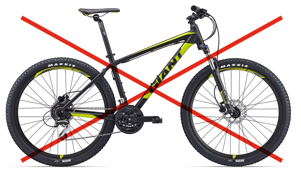 Cross-Country - Cross-country bikes generally have less suspension than most mountain bikes, making them ideal for pedalling long distances. They are not recommended in the Park.