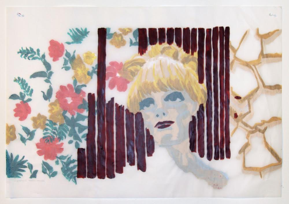 anda (verso), acrylique sur papier suédois, 62 x 88,5 cm, 2017.