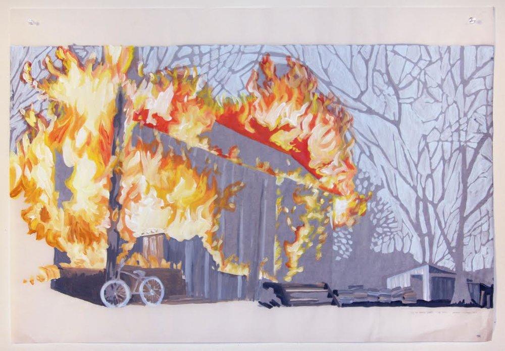 Dig Two Graves 2 (verso), acrylique sur papier suédois, 62 x 88,5 cm, 2017.