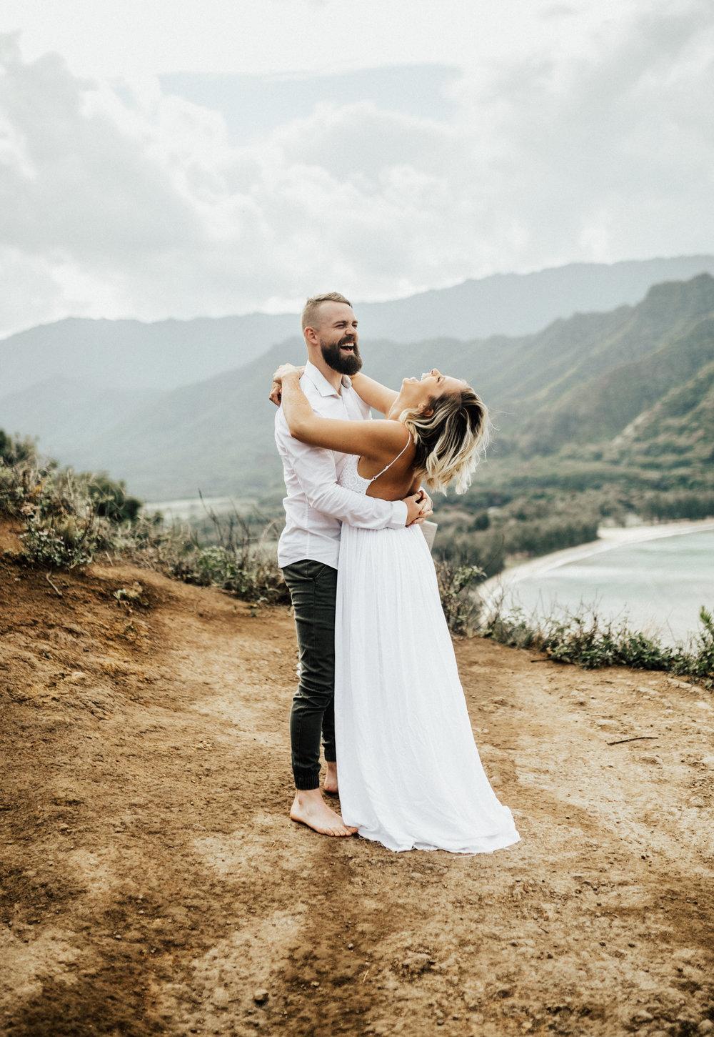 Crouching Lion Hike Oahu Hawaii Adventurous Couple Session