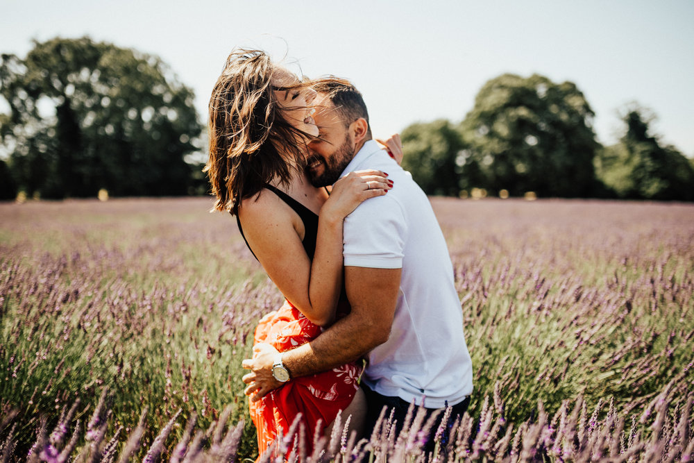 London England Lavender Field Couple Session