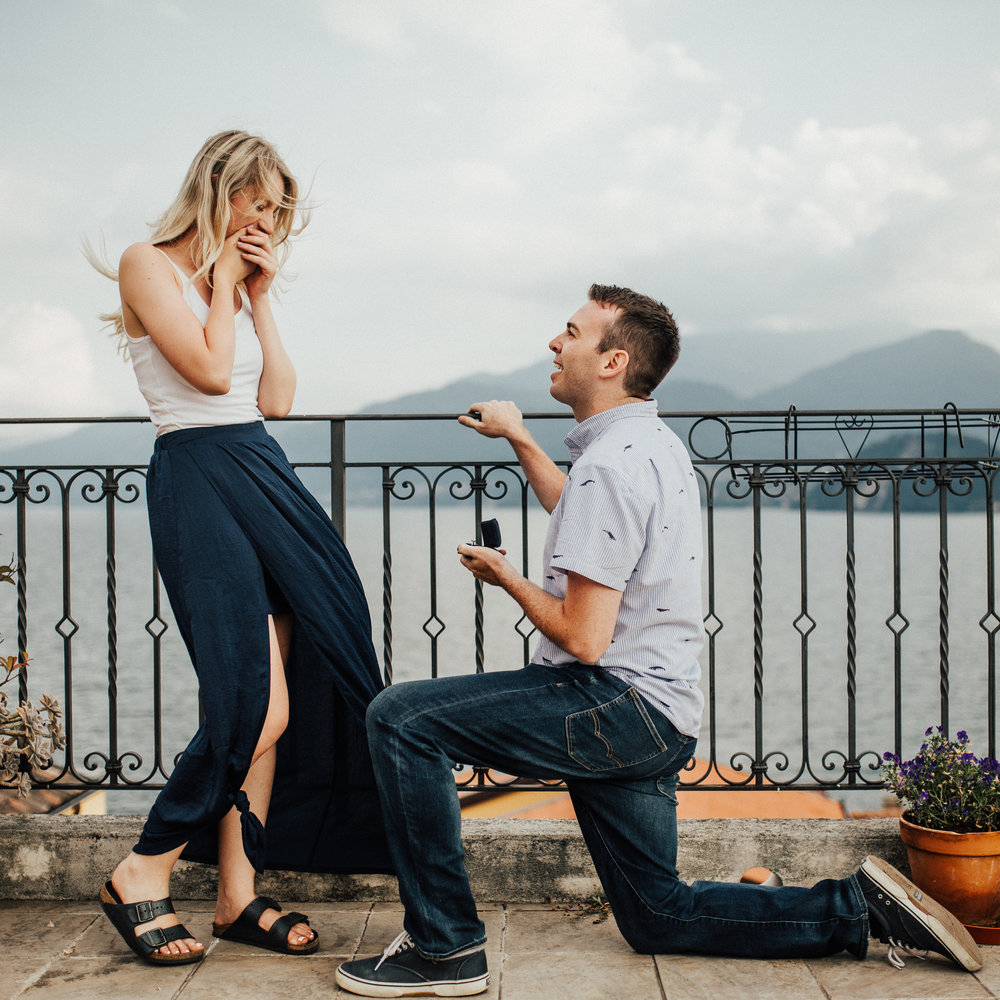 Lake Como Italy Proposal Engagement Photoshoot