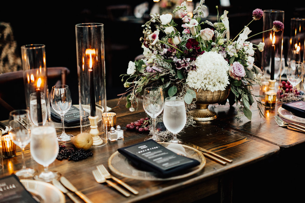 dark-elegant-enchanted-forest-goth-wedding-tablescape-inspiration-woodstock-vermont-wedding