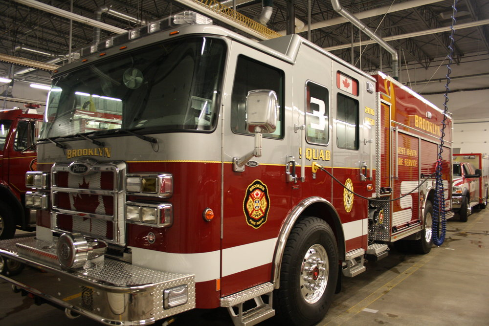 Squad Three is a 2016 Pierce enforcer puc rescue pumper. It has a 1250 GPM and it carries 500 gallons of water and it also has tak four suspension.