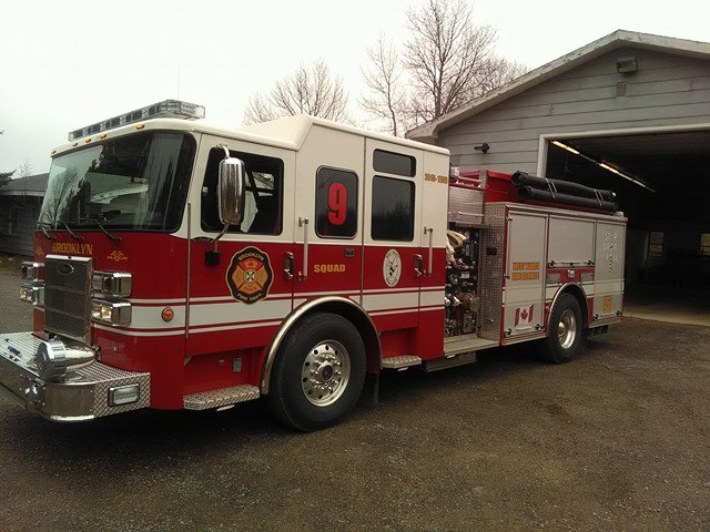 Squad Nine is a 2015 Pierce Saber  Pumper, with a 1250 GPM Pump and carries 600 Gallons of water.