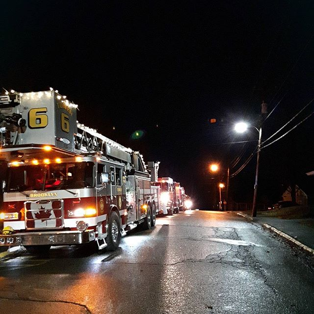 Tower 6 taking part in a Christmas parade in Hantsport. Winter 2016